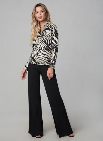 Joseph Ribkoff - Animal Print Top, Black,  fall winter 2019, jesrey, long sleeves, v-neck