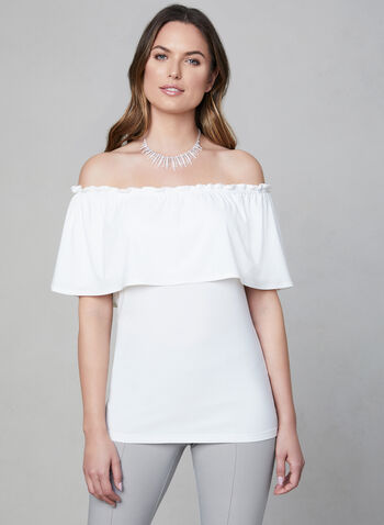 Off-the-Shoulder Jersey Top, Off White, hi-res,  short sleeves, stretchy, spring 2019, summer 2019