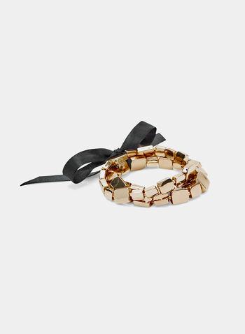 Bracelet extensible à carrés et nœud, Or, hi-res