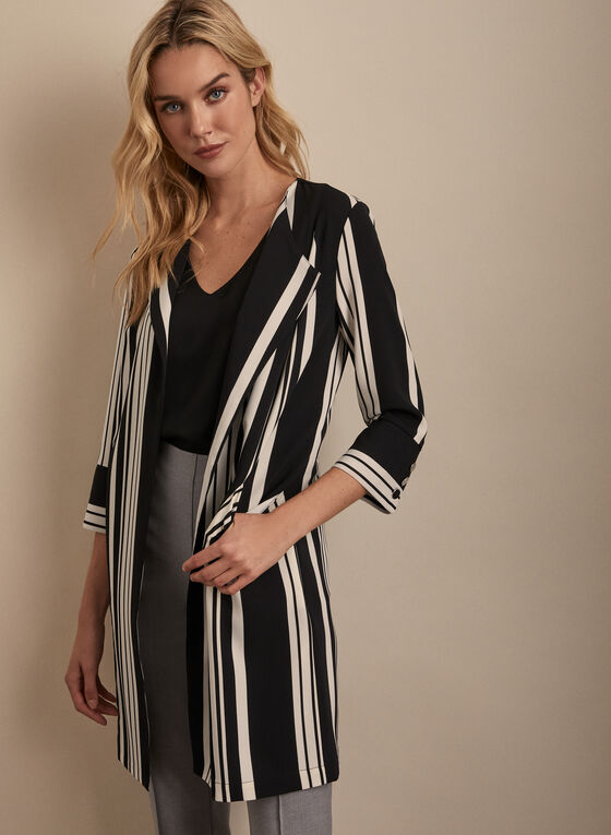 Open Front Striped Jacket, Black