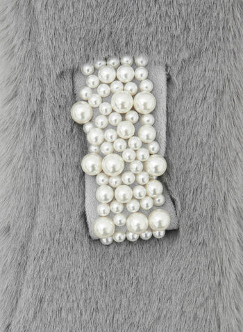 Faux Fur Pearl Detail Scarf, Grey,  Fall winter 2020, faux fur, pearl, warm, scarf