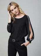 Contrast Piping Blouse, Black