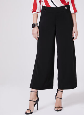 Wide Leg Grommet Detail Culottes, Black, hi-res