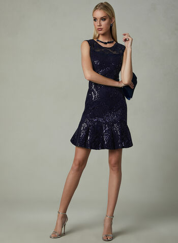 LM Collection - Sequined Mesh Dress, Blue, hi-res