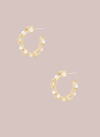 Chain & Pearl Hoop Earrings, Off White,  earrings, jewellery, pearl, chain, metallic, gold, open, hoop, spring summer 2021