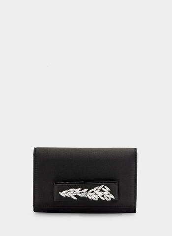 Crystal Detail Clutch, Black, hi-res,  handle, crystals, satin, glitter, fall 2019, winter 2019