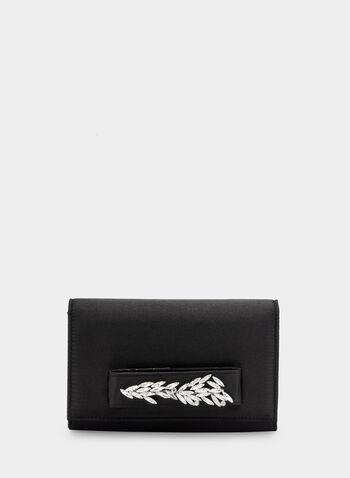 Pochette à rabat à détails cristaux, Noir, hi-res,  pochette, pailletée, satinée, feuille, cristaux, passant, automne hiver 2019