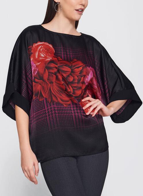 Blouse style kimono à motif pied-de-poule et fleurs, Rouge, hi-res