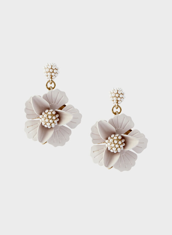 Flower Dangle Earrings, Off White, hi-res