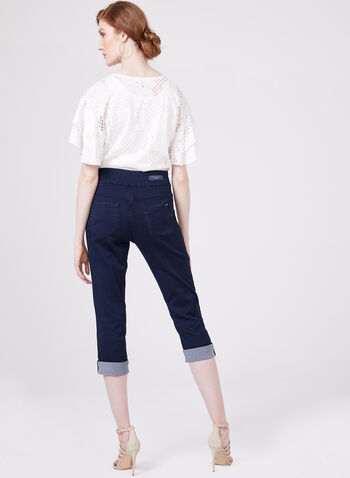 Carreli Jeans - Capri denim pull-on à revers, Bleu, hi-res
