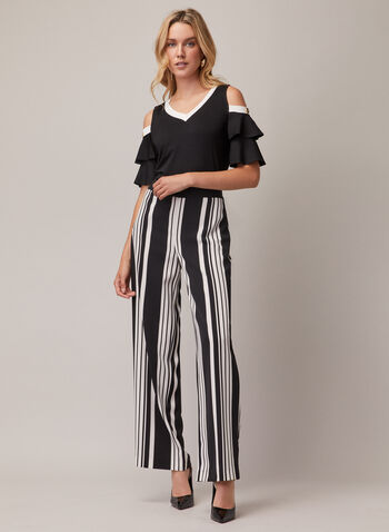 Tiered Sleeve Cold Shoulder Top, Black,  top, v-neck, cold shoulder, jersey, tiered, contrast, spring summer 2020