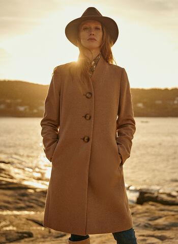Mid Length Wool Blend Coat, Beige,  fall winter 2020, coat, mid-length, mid length, wool blend, v neck, stand collar, long sleeve, warm, button, lined, pocket, winter
