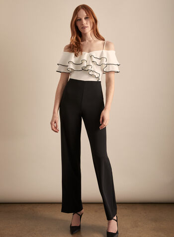 Frank Lyman - Ruffle Detail Jumpsuit, Black,  jumpsuit, ruffles, spaghetti straps, sweetheart, stretchy, wide leg, contrast, off the shoulder, spring summer 2020