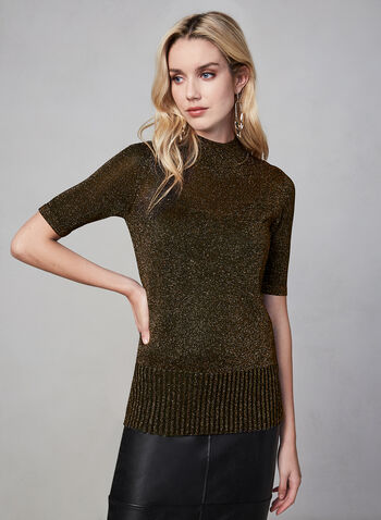 Metallic Knit Short Sleeve Sweater, Black, hi-res,  sweater, short sleeve, knit, fall 2019, winter 2019