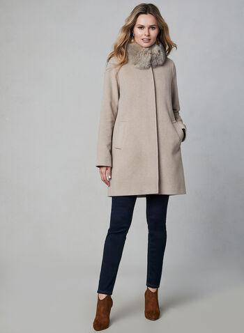 Mallia - Wool Blend Coat, Off White, hi-res,  wool coat, Mallia, fox fur, wool, cashmere, long sleeves, welt pockets, straight cut, fall 2019, winter 2019