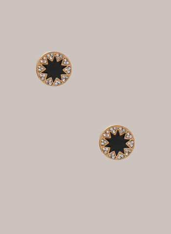 Star & Crystal Earrings, Black,  earrings, round, star, crystal, metallic, gold, fall winter 2020