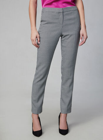 Vince Camuto - Houndstooth Pants, Black, hi-res,  Vince Camuto, pants, straight leg, houndstooth, fall 2019, winter 2019