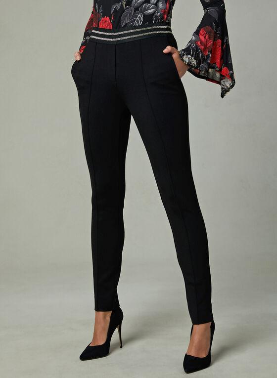 Pantalon pull-on à bande de taille métallique, Noir, hi-res