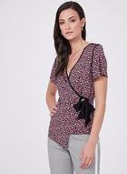 Faux Wrap Top With Grommet & Tie Detail, Red, hi-res