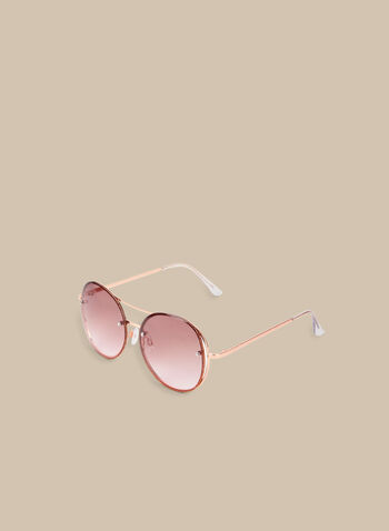 Round Metal Sunglasses, Pink,