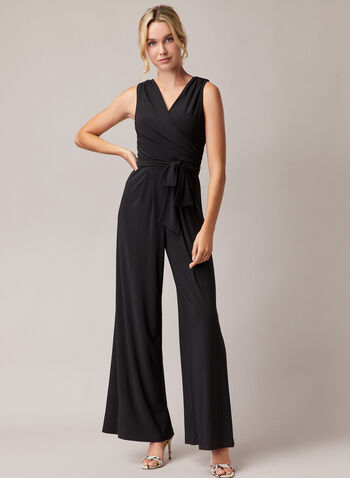 Joseph Ribkoff - Belted Wide Leg Jumpsuit, Black,  jumpsuit, belt, sleeveless, crossover, wide leg, spring summer 2020