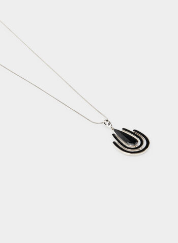 Geometric Pendant Necklace, Black,  enamel, long necklace, snake chain, fall 2019, winter 2019