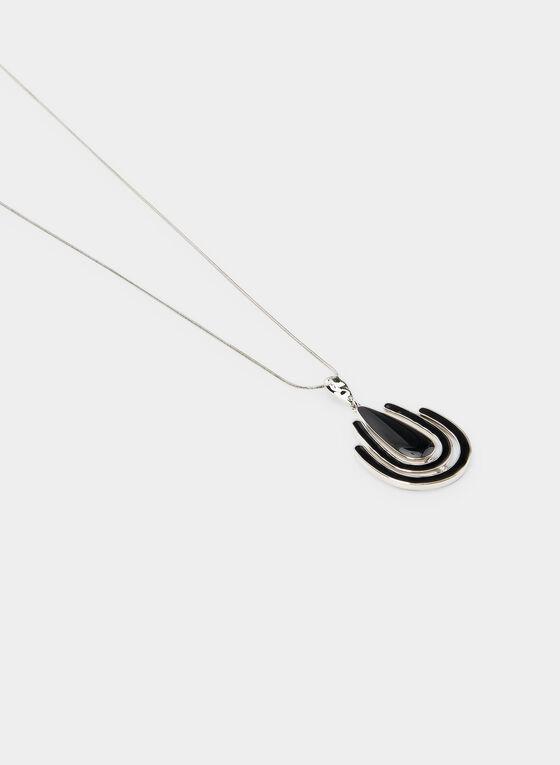 Collier long à pendants géométriques, Noir, hi-res