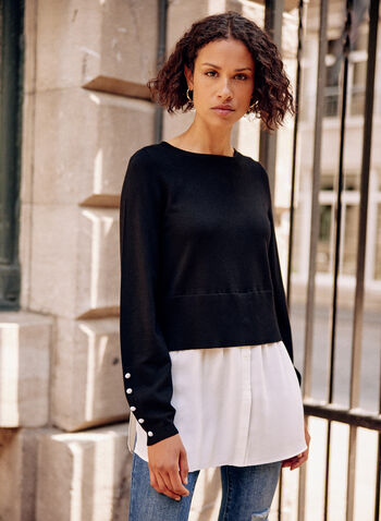 Pearl Detail Long Sleeve Tunic, Black,  fall winter 2021, pearls, detail, tunic, sweater, top, shirt, blouse, long sleeves, boat neck, ribbed, hem, knit, fabric
