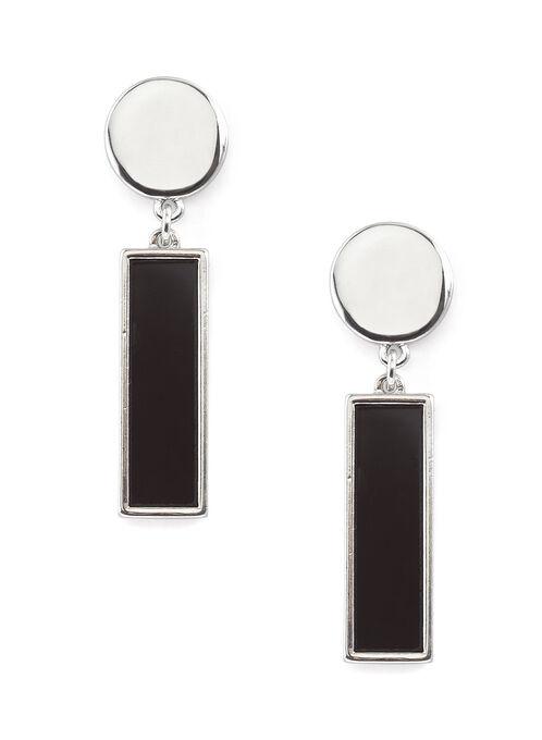 Two-Tone Formica Earrings, Black, hi-res