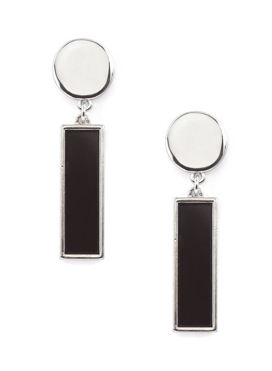 Two-Tone Formica Earrings, Black, hi-res