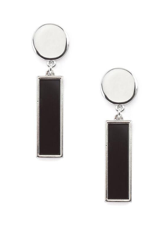 Boucles d'oreilles à pendants en formica, Noir, hi-res