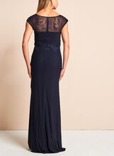 Beaded Embroidered Mesh Gown, Blue, hi-res