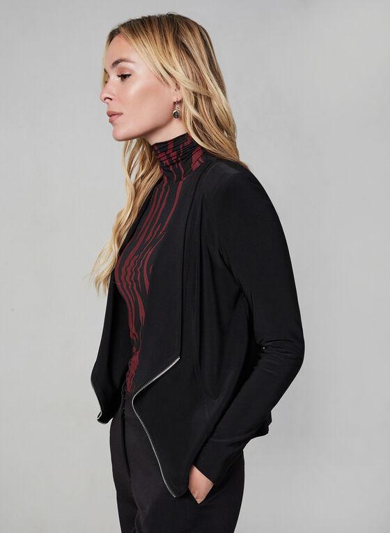 Haut ouvert à détail zippé, Noir, hi-res