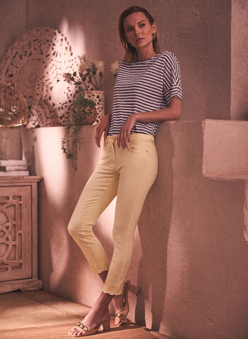 Charlie B - Embroidered Jeans, Yellow,  spring summer 2021, denim, pants, bottoms, jeans, made in Canada, classic fit, zipper, embroidery, waves,