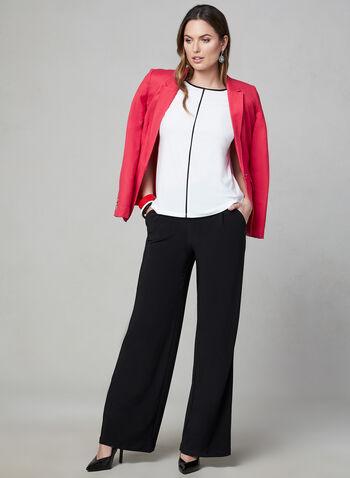 Blouse à détails contrastants, Blanc cassé, hi-res,  blouse, mancherons, coutures contrastantes, jersey, printemps été 2019