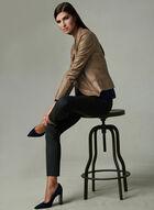 Vex - Blazer en faux cuir et détails couture, Brun, hi-res