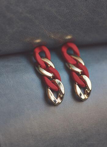 2-Tone Chain Link Earrings, Red,  jewellery, earrings, chain link, tiered, dangle, 2 tone, metallic, spring summer 2021