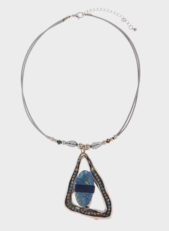 Collier avec pendentif triangulaire et pierre, Bleu, hi-res