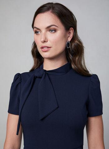 Maggy London - Tie Detail Sheath Dress, Blue, hi-res,  puffed sleeves, short sleeves, sheath, fall 2019, winter 2019