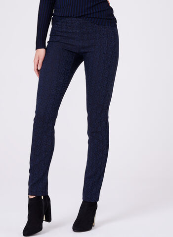 Pantalon pull-on en jacquard à jambe étroite, Bleu, hi-res