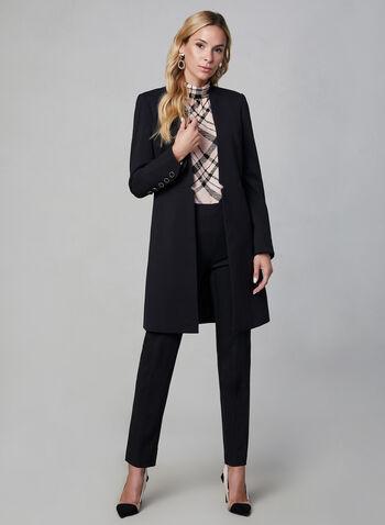 Veste redingote longue, Noir, hi-res,  cranté, manches longues, veste ouverte, automne hiver 2019, boutons