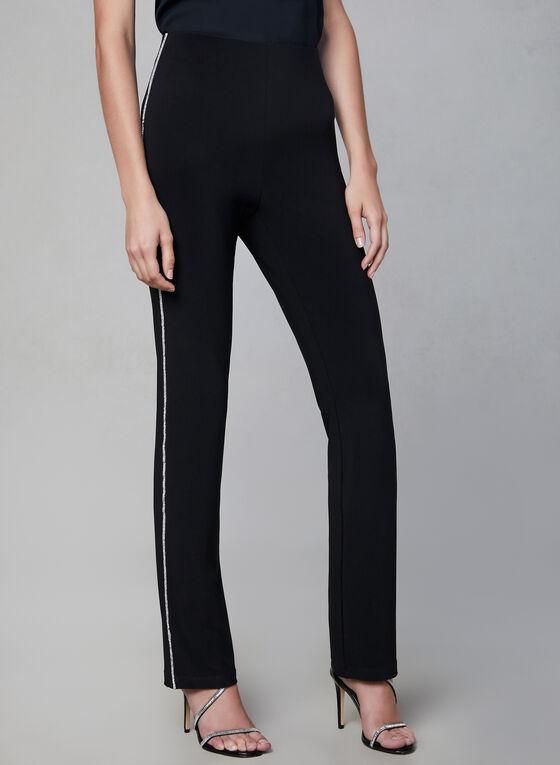Frank Lyman – Crystal Detail Jersey Pants, Black