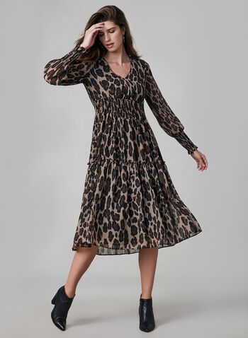 Animal Print Dress, Black, hi-res,  day dress, leopard print, V-neck, long sleeves, ruched, fall 2019, winter 2019
