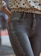 Jean à jambe étroite et détail de strass, Gris