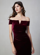 BA Nites - Off-the-Shoulder Velvet Dress , Red