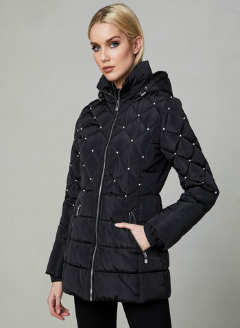 Karl Lagerfeld Paris - Pearl Detail Coat, Black, hi-res