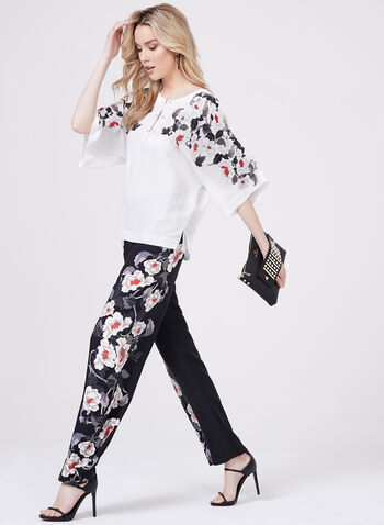 Floral Print Pearl Detail Blouse, White, hi-res