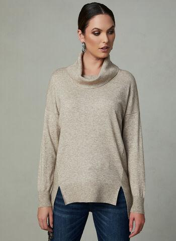 Pull à col roulé et tricot texturé, Blanc cassé, hi-res,
