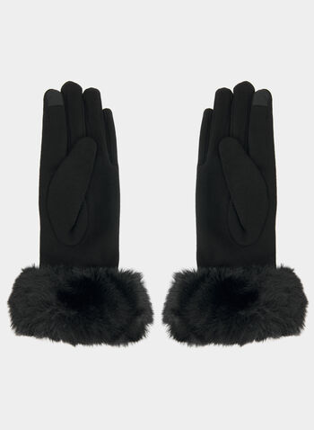 Faux Fur Cuff Gloves, Black,  gloves, pearls, houndstooth print, houndstooth, flower, fall 2019, winter 2019