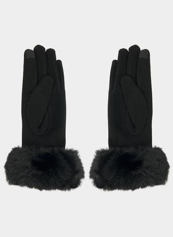 Gants à détails fausse fourrure et fleur, Noir,  gants, fausse fourrure, fleur, pied-de-poule, perles, automne hiver 2019